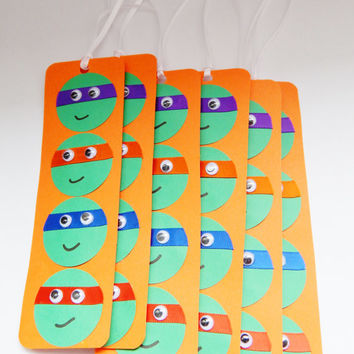 Teenage Mutant Ninja Turtle Party Favors - TMNT Bookmarks - TMNT Birthday Decor - Set of 6