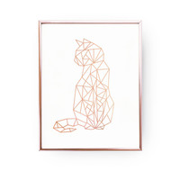 Cat Print, Geometric Cat, Cat Wall Art, Rose Gold Foil, Cat Geo Print, Cat Poster, Rose Gold Nursery Print, Animal Decor, Girl Room Decor