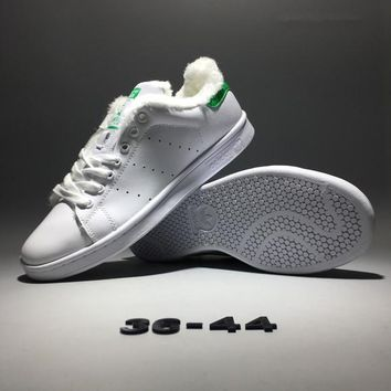 """Adidas Stan Smith"" Unisex Sport Casual Fashion Soft Leather Keep Warm Plate Shoes Sneakers Couple Small White Shoes"