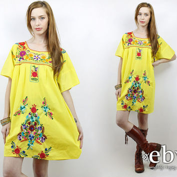 Vintage 70s Yellow Embroidered Mini Dress 1X 2X Plus Size Vintage Plus Size Dress Yellow Mexican Dress Hippie Dress Hippy Dress Boho Dress