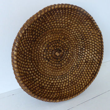Antique French Rye Coiled Basket, Home Decor