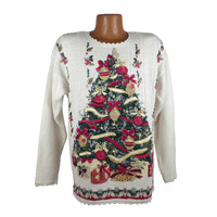 Ugly Christmas Sweater Vintage 1980s Tree  Holiday Tacky Xmas Party Women's size 8
