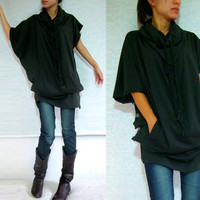 Boho Cowl Neck Dark Olive Green Black / Women Tunic Top - Tunic Dress with Pockets and Long Braids Size S M