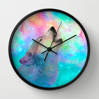 Breathing Dreams Like Air (Wolf Howl Abstract) Wall Clock by soaring anchor designs ⚓ | Society6