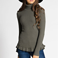 Liza Mock Neck Knit Layering Top: Olive