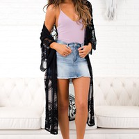 Fall For You Lace Kimono (Black)