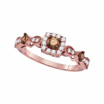 14kt Rose Gold Womens Round Brown Color Enhanced Diamond Solitaire Bridal Wedding Engagement Ring 1-2 Cttw