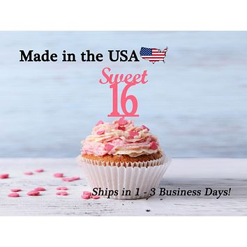 Sweet 16 Cupcake Toppers