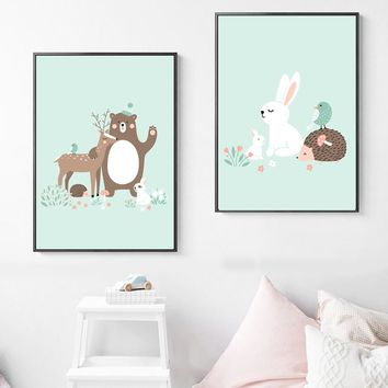 Bear Rabbit Deer Hedgehog Animals Wall Art Canvas Painting Nordic Posters And Prints Cartoon Wall Pictures Baby Kids Room Decor