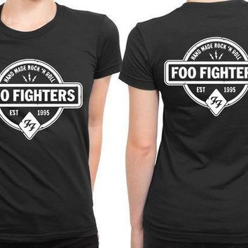Foo Fighter Logo Hand Made Rock And Roll Est 2 Sided Womens T Shirt
