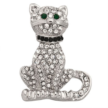 Sitting Cat Silver-Tone Pin