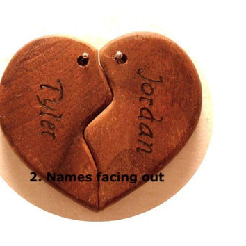 Custom Couples Heart Keychain, His And Hers, Best Friends, Wood Fifth Wedding Anniversary, BFF, Personalized Key Chain