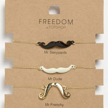 Topshop 'Novelty Mustache' Bracelets (Set of 3) | Nordstrom