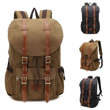 d123094425d2 Vintage Men s Backpack Military Canvas Leather Travel Backpack W