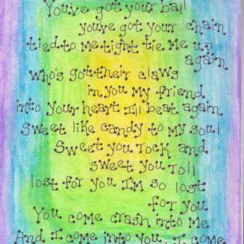 Dave Matthews Band, Crash Into Me, Dave Matthews Original Art, DMB Lyrics, Watercolor, Dave Matthews Band Home Decor, DMB Crash