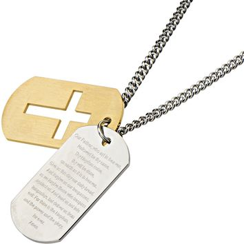 Inox 316L Steel Gold IP Dog Tag with Lords Prayer and Cross Pendant