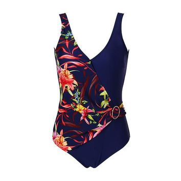 One Piece Floral Patchwork Plus Size Bathing Suit for women