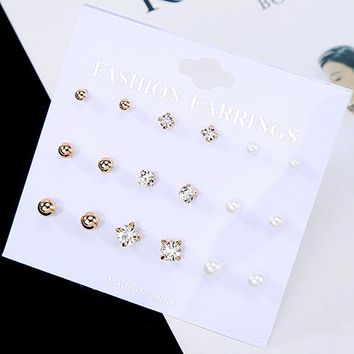 ES412 9Pairs/Set Stud Earrings Fashion Jewelry Crystal Brincos Women Simulated Pearls Earring pendientes mujer boucles Bijoux