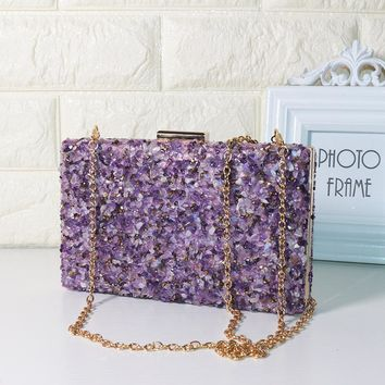 LAUWOO Purple Stone Women Elegant Evening Bags Lady Diamond Banquet Bag Minaudiere Female Wedding Party evening clutch bags