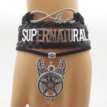 supernatural bracelets infinity super natural bracelet black leather hanging pentagram charm fashion man bangle