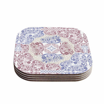 "Famenxt ""Floral Dense Garden"" Blue Brown Illustration Coasters (Set of 4)"