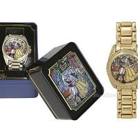 Licensed cool Disney BEAUTY and BEAST Belle Stained Glass Design Rhinestone Gem Goldtone Watch