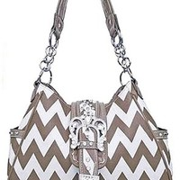 Chevron Print Rhinestone Buckle Hobo Satchel Purse Zig Zag (Grey)
