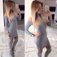 Off The Shoulder Sexy Dresses Full Sleeve Elegant Bodycon Sweater Dress