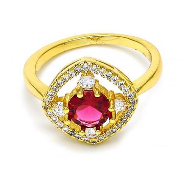Gold Layered Mult-stone Ring, with Cubic Zirconia and Crystal, Golden Tone