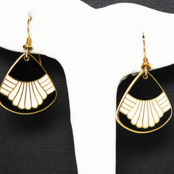 "Laurel Burch ""Waterfall"" Earrings for Pierced Ears - Black and White Enamel Signed Pierced Earrings - Mod Pop Art Jewelry - Vintage 1990's"