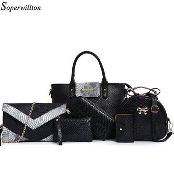 """SOPERWILLTON"" Luxury Women Bag 6 Piece Set Alligator (Panelled)"