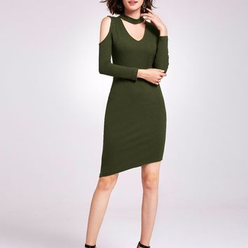 [Clearance Sale] Sexy Cocktail Dresses Ever Pretty AS05925 Bodycon V-Neck Long Sleeves Knee-Length Army Green Party Dresses 2018