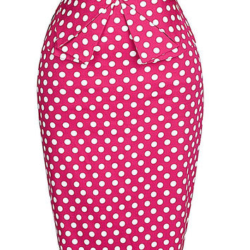 2016 Fashion 50s Summer style Womens Pencil Skirt Polka Dots woman Pleated Cotton sexy Bodycon Vintage Skirts Plus Size