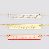 Rose Gold Bar Necklace, Personalized Necklace Bar, Name Necklace, Engraved Bar Necklace Gold, Silver, Rose Gold 5x35