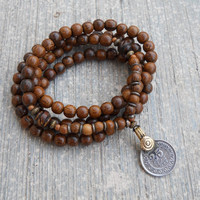 Wood and Vintage, 108 bead and vintage coin pendant, wrap mala bracelet or necklace
