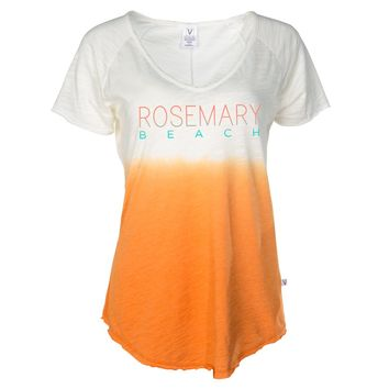 Venley Rosemary Beach Women's Great Cities Dip Dye Slub V Neck T-Shirt
