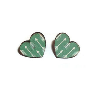 Mint Green Arrow Earrings, Wooden Heart Stud Earrings, Cute Modern, Print