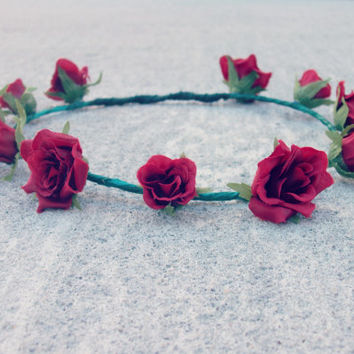 Red Rose Floral Crown