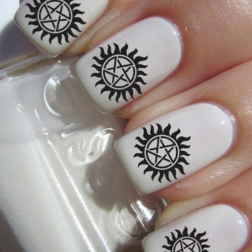 Supernatural nail decals tattoos nail art