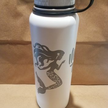 808 HI-DR8 40oz White Mermaid Water with name (Flawed/Dented) Flask - Final Sale