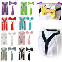 Fashion Boys Girl kid Suspender Adjustable Elastic Y-Back Braces Baby Suspenders Set Bow Tie + NeckTie Wedding HHtr0001