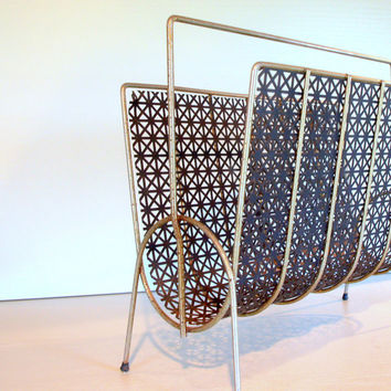 1950s VINTAGE MID CENTURY Magazine Rack in Lovely Geometric Black Metal Mesh and Gold tone Brass Modern Retro Mid Mod Mcm