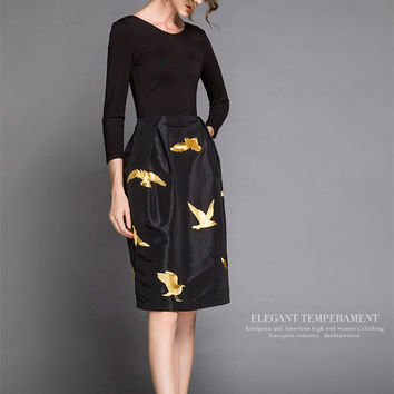new autumn gole bird embroidery o neck high waist knee length slim patchwork black vintage ladies office dresses women