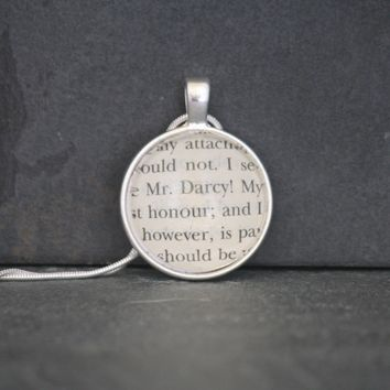 Pride and Prejudice Upcycled Book Page Pendant