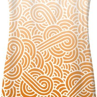 Ombre orange and white swirls doodles Simple Dress