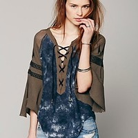 Free People Womens FP New Romantics Moon and Stars Tee - Washed Black, S
