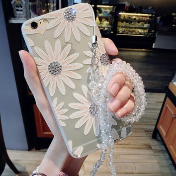 Twinkle Rhinestone Daisy iPhone 7 7 Plus & iPhone 6 6s Plus & iPhone 5s se Case Best Protection Cover with Box