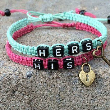 Couples Bracelet Lock and Key His and Hers Lovers Friendship Braclet Charms macrame BST-511