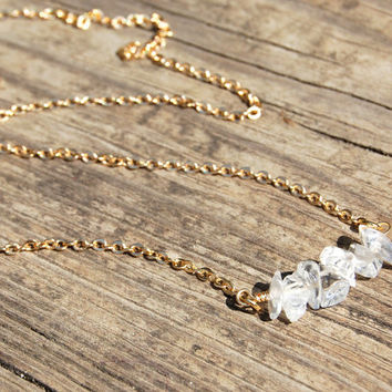 Clear Quartz Crystal Necklace, Healing Gemstone Necklace, Chakra Jewelry, Yoga Jewelry, Reiki Charge, minimalist, layered necklace