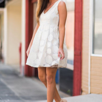 Stop And Smell the Rosettes Dress, Cream